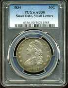 1834 50c Small Date Small Letters Capped Bust Half Dollar Au50 Pcgs 40241585