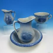Blue And White Stoneware - Fish Scale And Wild Rose - 4 Pc Wash Stand Basin Set