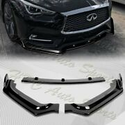 For 2017-2020 Infiniti Q60 Coupe Painted Black V-style Front Bumper Body Kit Lip