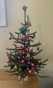 """Vintage Old Primitive Country Decorated Christmas 31"""" Table Top Tree Burlap Base"""