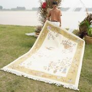 Yilong 6'x9' Foyer Hand Knotted Chinese Wool Rug Beige Bedroom Area Carpets