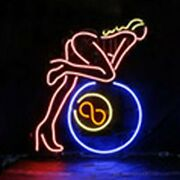 Billiards Eight Balls 24x20 Neon Sign Wall Store Light Lamp With Dimmer