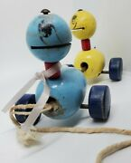 Vintage Wooden Duck Pull Toy - 2 Ducklings - Fisher Price 1940s