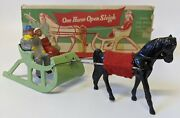 Vintage 1947 Barclay 510 Lead Christmas One Horse Open Sleigh In Box