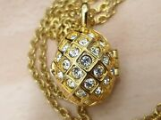 Joan Rivers Vintage Crystal Egg Necklace Locket With Bee Inside 29 Chain 80's