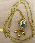 Joan Rivers Vintage Crystal Egg Necklace 24 Chain Gold Tone 80's