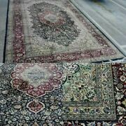 Excellent Silk Wooltebriz Oriental Rug Hand Knotted Floral Birds 10and039x13and039 5