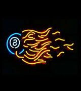 8 Balls Fire Flame Billiards Pool 24x20 Neon Sign Light Lamp With Dimmer