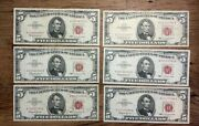 Lot Of 6 1963 5 Five Dollar Red Seal U.s. Small Size Notes Old Us Currency