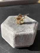 Vintage 9ct Yellow Gold Canon Charm Pendant With Spinning Wheels
