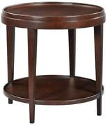 Side Table Round Lipped Top Hand-rubbed Chocolate Brown Solid Acacia Wood Shelf