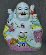 7(h)chinese Porcelain Happy Laughing Buddha With Five Children Statue