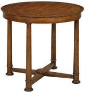 Side Table Hand-rubbed Distressed Rustic Brown Acacia Wood Pillar Legs