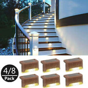 4/8 Pcs Solar Led Deck Lights Outdoor Path Garden Pathway Stairs Step Fence Lamp