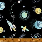 Cubby Bear Flannel Fabric 52379-4 Outer Space Rocket Planet Quilt Shop Quality