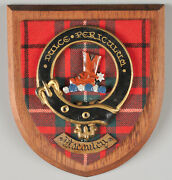 Vintage Scottish Wood Crest Wall Plaque Clan Maccauley Scotland Coat Of Arms