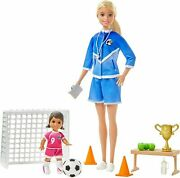 Barbie Soccer Coach Playset W/ Blond Soccer Coach Doll And Student Doll New