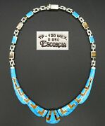 Size Silver Collier Necklace With Turquoise And Tiger Eye Brand Escorcia 950