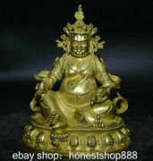 6 Old Tibet Red Copper 24k Gold Yellow Jambhala Wealth God Buddha Mouse Statue