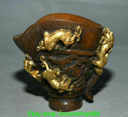 6 Old Chinese Ox Horn Gild Carved Palace Beast Handle Drink Wine Cup