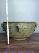 17.2 Antique China Bronze Ware Dynasty Palace Dragon Beast Ear Container Vessel
