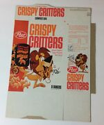 1960and039s Post Crispy Critters Cereal Box W/ Linus The Lionhearted