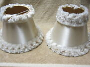Vintage Collectible Pair Of Lamp Shades With Frayed Ribbon Fur 8 3/4 Bottom Dia