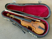 Miniature Violin With Case Doll House Dollhouse Wood Black Case Bow Darling