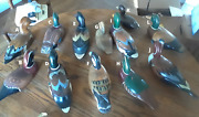 Assorted Sizes Solid Wood Ducks Mallards Drake Decoy Made In Taiwan Painted