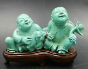 Chinese Late Qing Turquoise Figurine Group Of Two Boys With Frog And Lotus Bloom