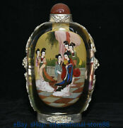 7.6 Old China Glass Inner Painting Palace Beautiful Woman Belle Snuff Bottle