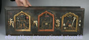 18 Inch Old Tibetan Wood Painting Paper Buddhism 3 Buddha Scripture Book