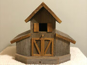 Large Hand Crafted Barn-style Rustic Wooden Bird House