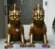 Old China Purple Bronze Gilt Brave Troops Animality Patron In Tomb Statue Pair