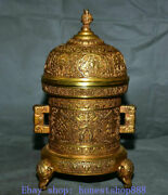 13marked Old Chinese Copper Gold Eight Treasures Dragon Elephant Incense Burner