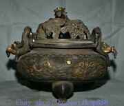 15 Marked Old Chinese Purple Copper Palace Dragon Flower Incense Burners Censer