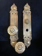 Antique/vintage Louis Xvi Pattern Brass Door Knobs And Wall Plates