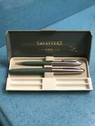 Vintage Sheaffers Cartridge Fountain Pen And Mechanical Pencil And Case Green/crome