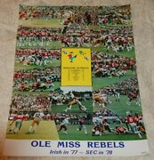 Rare Vintage 1977 Ole Miss Notre Dame Football Poster With Colonel Rebel Col Reb
