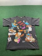 Rare 90s Vintage Flintstones 2 Sided All Over Print Shirt Xl 1994 Changes Clean