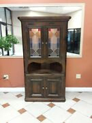 Corner Curio Cabinet Hutch Solid Wood With Light And Colored Leaded Glass