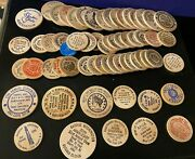 Lot Of 60+ Numismatic Society Wooden Dollars And Nickels 1970s-80s