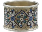Antique Russian Silver Gilt And Polychrome Cloisonnandeacute Enamel Napkin Ring 1915s