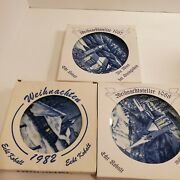 Set Of 3 Vintage Weihnachten Christmas Holiday Blue And White Plates 1987, 1988,