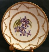 Limoges Hand Painted Orchid Plate, By Le Meage, Ovington Bros, Ny, Tandv