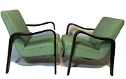 Original Pair Of Thonet Midcentury Bentwood Lounge Chairs Lacquered Black