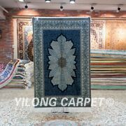 Yilong 3and039x4.5and039 Foyer Hand Knotted Silk Carpet Blue Living Room Area Rug 153a
