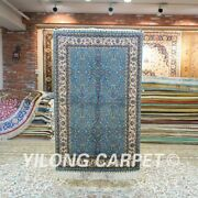 Yilong 3and039x4.5and039 Home Hand Knotted Silk Carpet Blue Flowers Tapestry Area Rug 154a