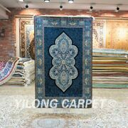 Yilong 3and039x4.5and039 Turkish Hand Knotted Silk Carpet Blue Sitting Room Area Rug 156a