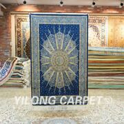 Yilong 3and039x4.5and039 Hand Knotted Silk Carpet Blue Liberty Design Area Rug 157a